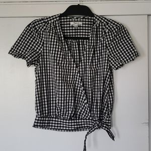 Madewell Short Sleeve Checked Wrap Shirt XS